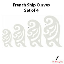 FRENCH SHIP CURVES SET OF 4 Rulers Technical Drawing Stencil Template