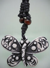 H1037 butterfly wooden bead adjustable string resin pendant necklace