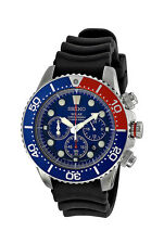 New Seiko SSC031 Solar Blue Dial Black Rubber Strap Men's Divers Watch