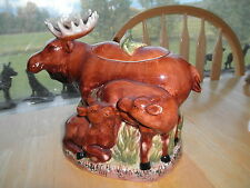 Vintage Moose COOKIE JAR c1960 Ceramic Babies Mom Damaged Paddle Horns OLD Cabin