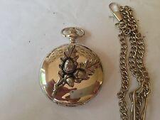 C24 Oak Leaves    polished silver case mens GIFT quartz pocket watch fob