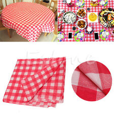 New One-time Oil Cloth Yardage Tablecloth Pretty Gingham Check Wedding Party Red