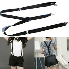 Casual Womens Clip-on Suspenders Elastic Y-Shape Adjustable Braces Black Trendy