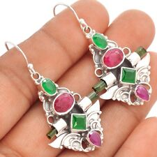 Ruby, Green Tourmaline Rough & Emerald 925 Silver Earrings Jewelry SE88563