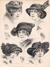 """16x20"""" CANVAS Decor.Room design art print..Nouveau French fashion hats.6163"""