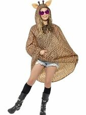 Ladies Teens Giraffe Poncho Waterproof Festival Concert Hen Party Costume Fun