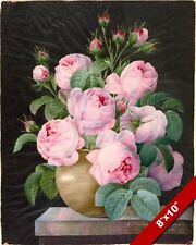 BIG BLOOMING PINK ROSES FLOWERS IN A VASE PAINTING ART REAL CANVAS GICLEE PRINT