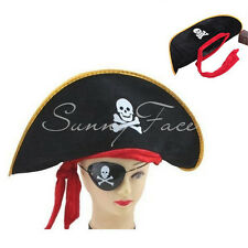 1pc Pirate Hat Cap With Red Ribbon Cosplay Dressing Up Fancy Women Men Good