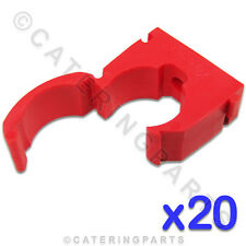 CL114 TALON 20 x HIGH QUALITY 15mm SINGLE HINGED PIPE CLIPS RED FOR HOT WATER