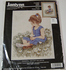 "DAISY GIRL Janlynn Counted Cross Stitch Kit 12.5""x17.5"" Child Spring NIP 1996"