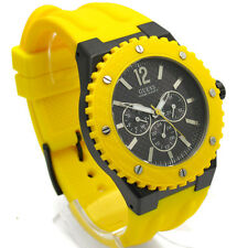 Guess Men's Watch Overdrive S/Steel Date 100m Rubber Strap Yellow W11619G5