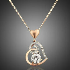 New 18K Real Gold Plated Swarovski Element Crystal Necklace And Pendant