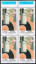 CHILE 1992 STAMP # 1587 MNH BLOCK OF FOUR RADIO