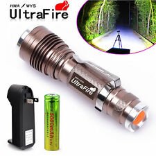 Ultrafire Tactical CREE LED Rechargeable Zoom Flashlight +18650 Battery+ Charger