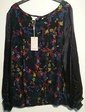 monsoon lena freya top black floral birds uk 22 bnwt slik sleeves