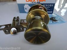 2X Dexter Schlage PASSAGE J10 BYR 609 Antique Brass latch door  Knob hall closet