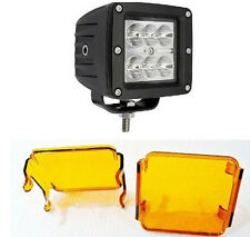 "3"" 18W CREE LED Work Light Spot Lamp Bike Motorcycle POD Square + Amber Cover"
