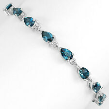 Sterling Silver 925 Genuine Pear Faceted London Blue Topaz  Bracelet 7 Inches