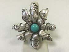 Sterling Silver CFJ Turquoise & Baroque Pearl Flower Floral Ring Size 8
