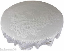 "WHITE HEAVY LACE ROSE SCALLOPED STAIN RELEASE 72"" ROUND TABLE CLOTH"