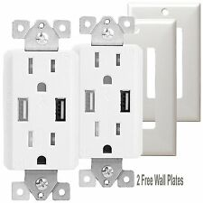 TOPGREENER TU2152A 2.1 AMP Dual USB Outlet Charger 15 AMP + 2 Free Wall Plates