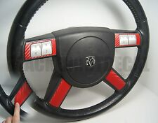 Dodge Charger / Chrysler 300 RED Carbon Fiber Steering Wheel Spoke Decal Cover