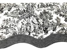 """TOILE & CHECK VALANCE Double Layered Lined Scallop Edge Black & White 17"""" x 68"""""""