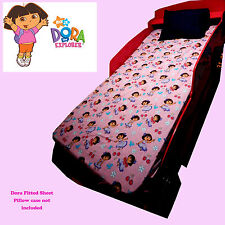 COTTON GIRLS DORA THE EXPLORER PINK SINGLE BED FITTED FLANELLETTE SHEET