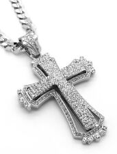 "Mens Large Hollow Cross Silver Iced Out Pendant 30"" Necklace Cuban Chain G09"