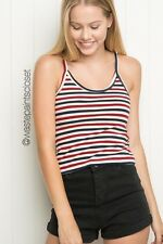 Brandy Melville Red White Navy Blue Striped James cropped tank top NWT