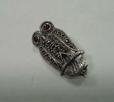 Sterling Silver Owl Pin Brooch with Marcasites and Orange Gemstone Eyes