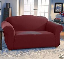 JERSEY STRETCH 2 Pc Furniture Slipcover Set, Sofa/Couch+Loveseat Covers BURGUNDY