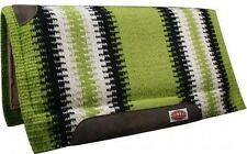 "LIME GREEN 36""x34"" Wool Top Memory Felt Bottom Cutter Style Western Saddle Pad!"