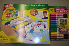 Crayola CW Mess Free Airbrush, Girl Airbrush Marker and Stencil Pack