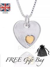 Together Forever Silver Tone Small Gold Heart Necklace Gift Present Girlfriend