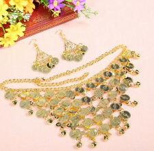 Belly Dance Golden/Silver Coins Tribal Necklace + Earring 3pcs/pack