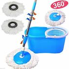 New! 360° Easy Clean Floor Mop Bucket 2 Heads Microfiber Spin Rotating Head Blue