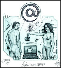Hujber Gunter C2 Exlibris 2012 Adam and Eve Erotic Snake Nude Apple Computer 41a