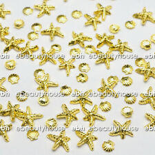 20 Pcs 3D Gold Ocean Sea Star Shell Alloy Nail Art Decoration #EJ-192A