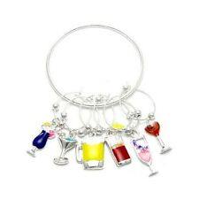 Set of Six  Variety Party Drinks Wine Charms and Bottle Ring