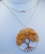 GENUINE CITRINE TREE OF LIFE PURE SILVER PLATING OVER BRASS by Silver Trend