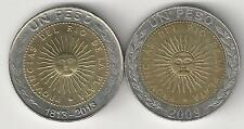 2 DIFFERENT BI-METAL 1 PESO COINS from ARGENTINA (2 TYPES/2009 & 2013)