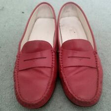 Tod's Authentic red leather loafers shoes Women's size 37.5