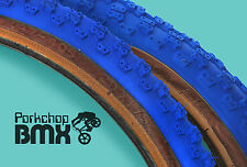 "Kenda Comp 3 III old school BMX skinwall gumwall tires 20"" STAGGERED PAIR - BLUE"