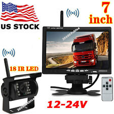 "12V-24V Wireless 7"" HD LCD Monitor +Bus Truck Trailer 18LEDs IR Reversing Camera"