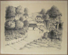 Francisco Dosamantes Signed Lithograph Mayan Landscape 20th Century Mexican Art