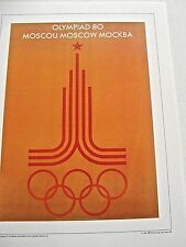 Olympic Games  1980  Moscow Russia-Official Poster Reprint 16x12 Offset Litho
