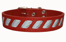 "Quality Genuine Leather Reflective Dog Collar 18""-23"" neck size Rottweiler Akita"
