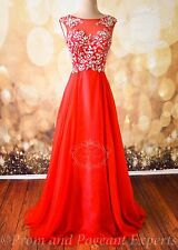 RED FORMAL EVENING PROM LONG PAGEANT HOMECOMING PARTY GOWN DRESS L 10 Sarah