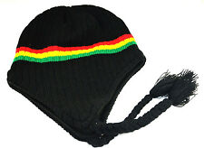 Black Rastafarian Rasta Peruvian Beanie Black Red Yellow Green Strings Beanie